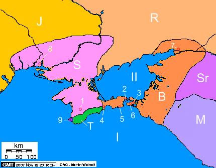 Państwo Scytów na Krymie i jego sąsiedzi, II wiek p.n.e.: I) Morze Czarne II) Morze Azowskie 1) Neapol Scytyjski 2) Pantikapajon 3) Fanagoria 4) Teodozja 5) Kimmerikon 6) Hermonassa 7) Tanais 8) Olbia 9) Chersonez Taurydzki S) Państwo scytyjskie na Krymie B) Królestwo Bosporańskie J) Jazygowie R) Roksolanie Sr) Syrakowie M) Meotowie T) Taurowie