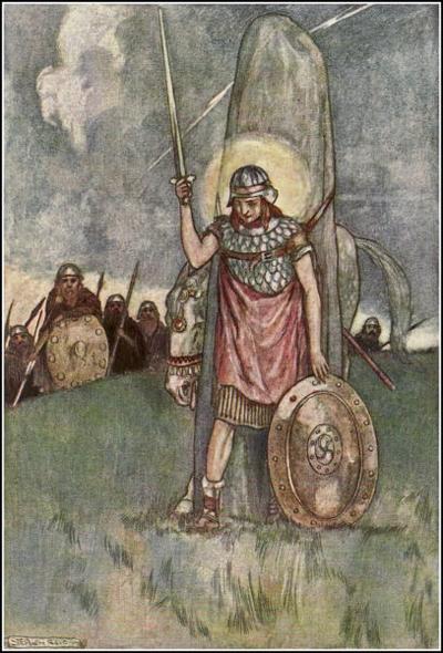 Cuchulainn's death, illustration by Stephen Reid 1904