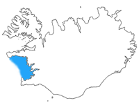 Faxaflói shown in blue