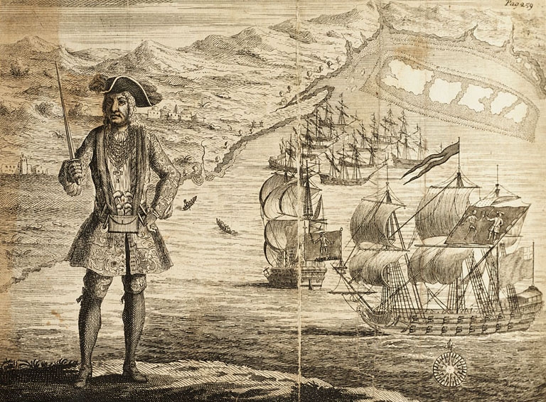 General History of the Pyrates - Captain Bartholomew Roberts with two Ships (alt)