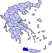 Location of Hanya Prefecture in Greece