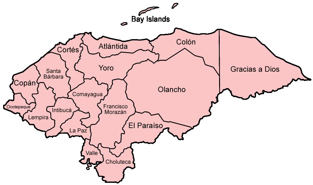 FileHonduras Departments Namedpng Wikimedia Commons - Honduras country political map