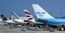 A typical lineup at Terminal D showing Lufthansa, Air France, British Airways and KLM aircraft