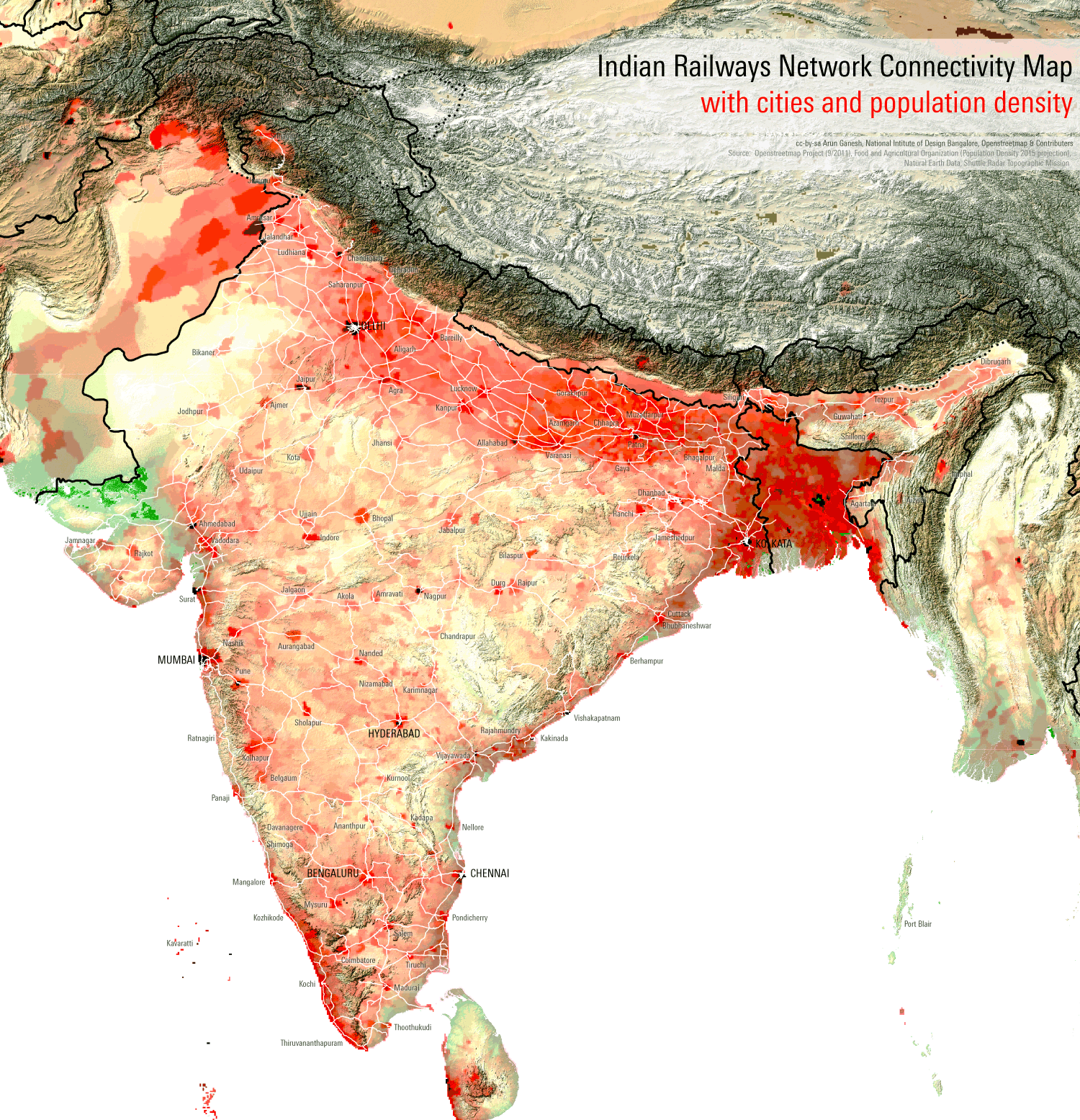 Map of India. High population density areas (above 1000 persons per square kilometer) centre on Kolkata along with other parts of the Ganges River Basin, Mumbai, Bangalore, the south-west coast, and the Lakshadweep Islands. Low density areas (below 100) include the western desert, eastern Kashmir, and the eastern frontier.
