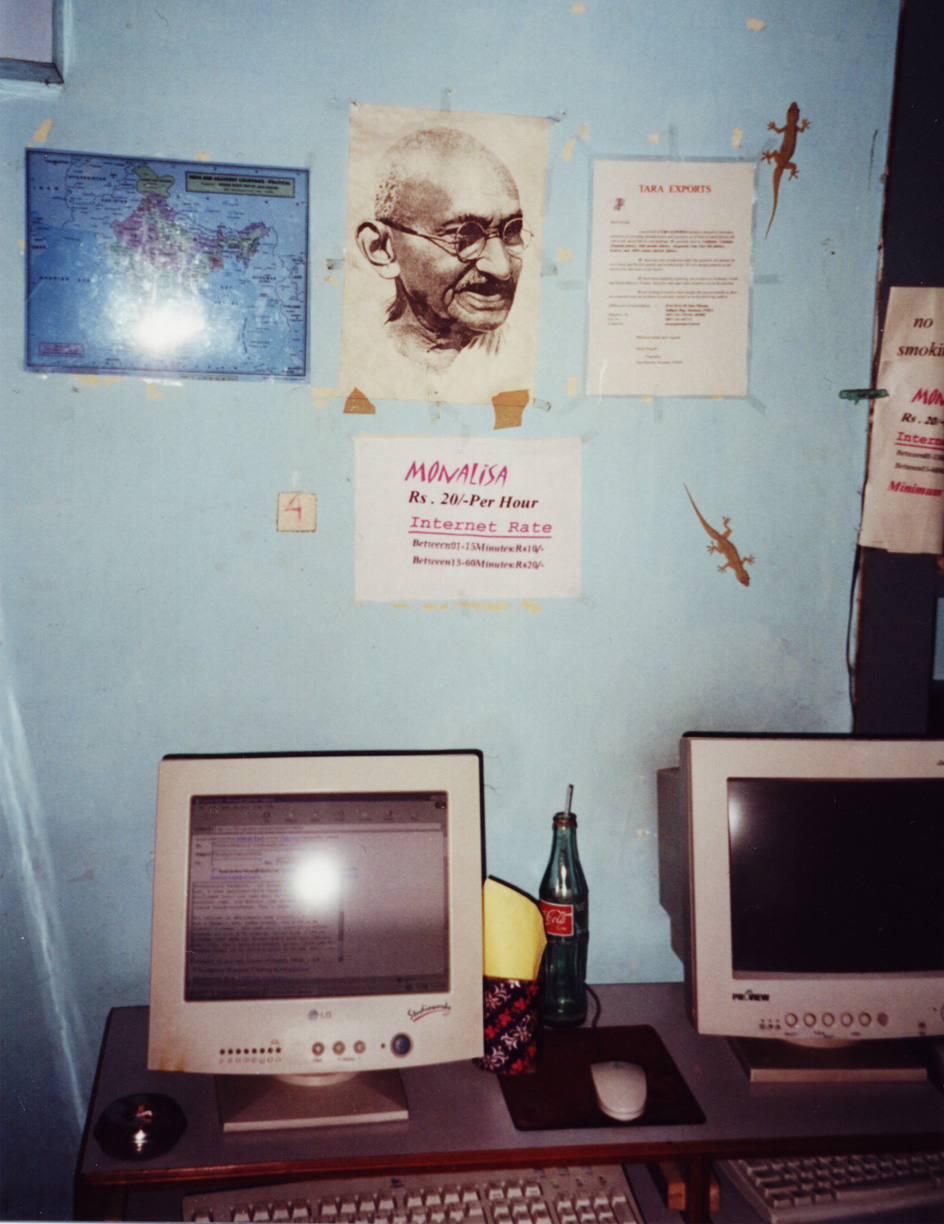 Gandhi picture in Internet café in Varanasi, India, 2001