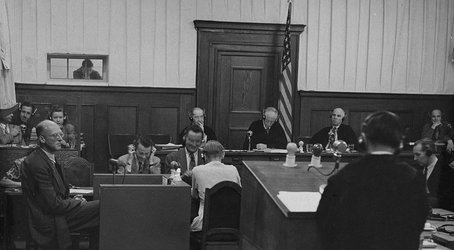 A witness testifies in the Judges' Trial in Nuremberg, Germany.