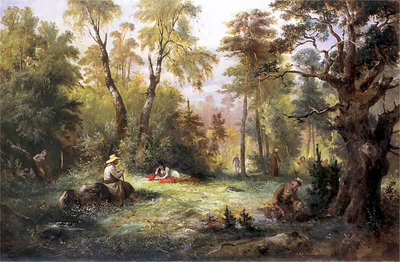 Mushroom picking, 1860, Franciszek Kostrzewski