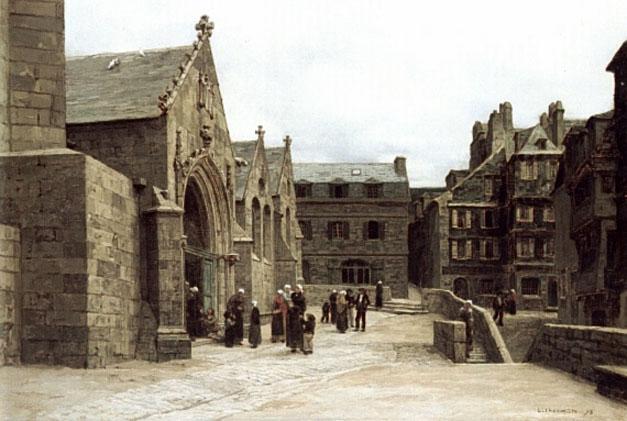 File:Léon Augustin Lhermitte, 1875 – Sortie de l'Église Sainte-Mélaine à Morlaix.jpg