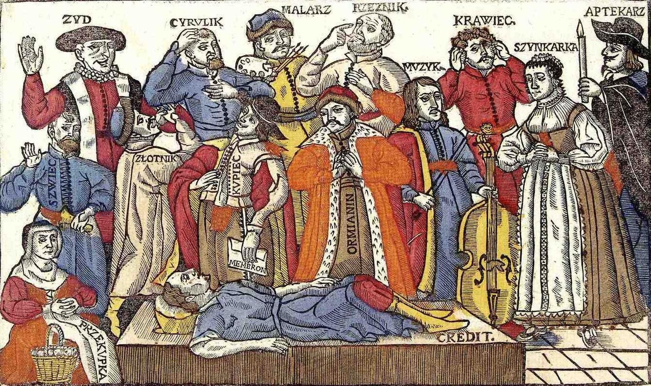 Some social strata in the Polish–Lithuanian Commonwealth's society - 1655. From left: Jew, Barber, surgeon, Painter, Butcher, Musician, Tailor, Barmaid, Pharmacist, Shoemaker, Goldsmith, Merchant, Armenian.