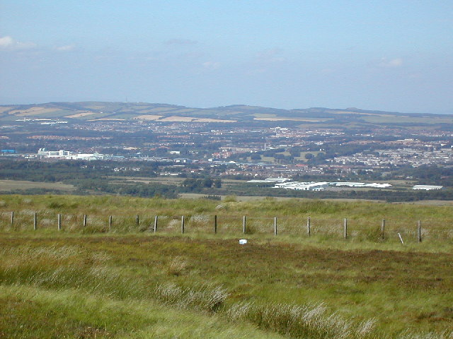 Livingston. The town of Livingston, West Lothian, viewed from the cairn a little to the west of the Corston Hill summit. The Bathgate Hills are visible in the background.