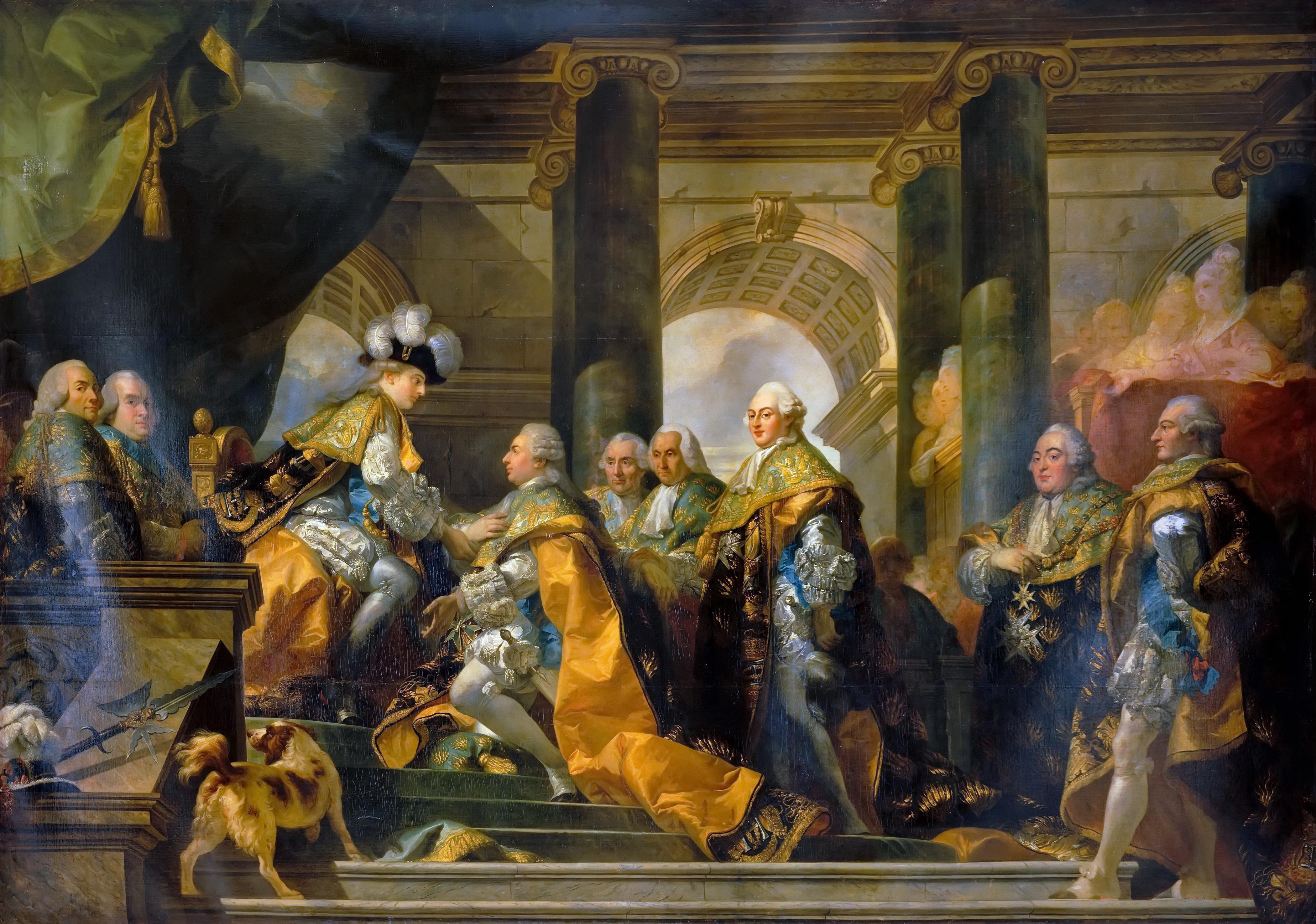 """Résultat de recherche d'images pour """"Louis XVI et les chevaliers de l'ordre du Saint-Esprit parGabriel-François Doyen"""""""