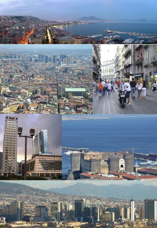 Top: Panorama view of Mergellina Port, Mergellina, Chiaia area, over view of Mount Vesuvius, Second left: Naples Directional Center (Centro Direzionale di Napoli) and Spaccanapoli Street, Second right: Via Toledo Street, Third left: Naples Media Center, Third right: Castel Nuovo (Maschio Angioino), Bottom: View of Centro direzionale di Napoli, from Naples Railroad Station