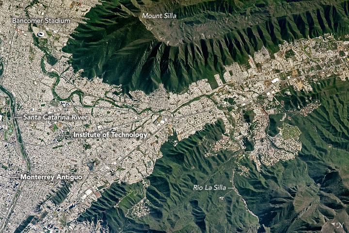Monterrey and Cerro de la Silla from the ISS, 2017
