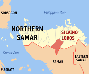 Map of Northern Samar showing the location of Silvino Lobos