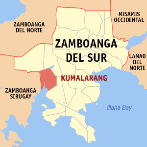 Map of Zamboanga del Sur showing the location of Kumalarang