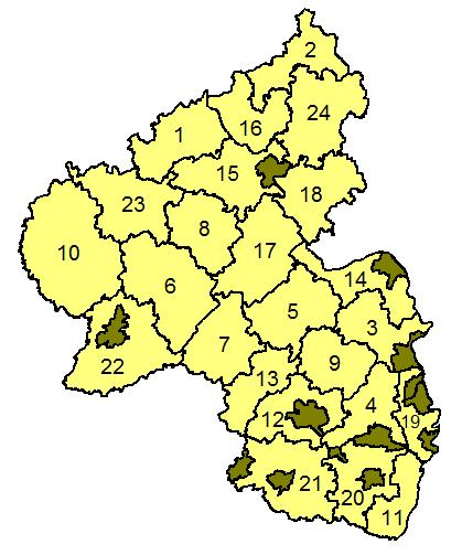 Karte der Landkreise in Rheinland-Pfalz