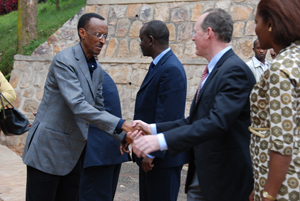 Rwandan President Paul Kagame and PIH's Paul Farmer at the Butaro ribbon cutting ceremony in 2011.