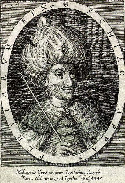 Abbas the Great, the most powerful king of the Safavid dynasty Shah Abbas I engraving by Dominicus Custos.jpg