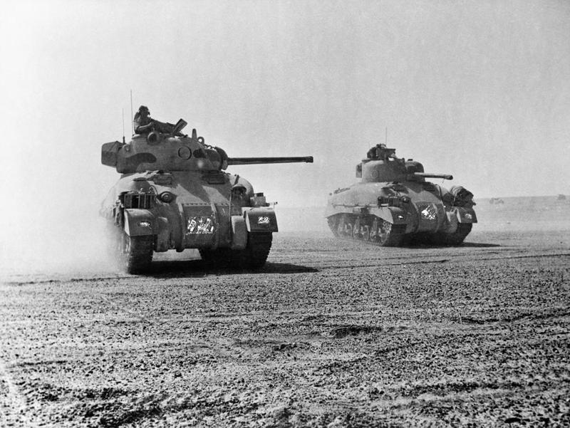 Sherman tanks of 9th Queen%27s Royal Lancers during the Battle of El Alamein, 5 November 1942. E18972.jpg