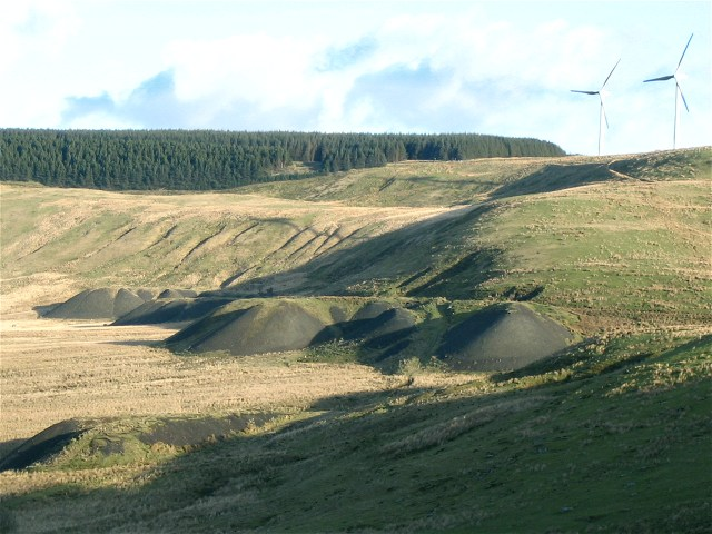 Spoil heaps below Ffynnon Oer wind farm - geograph.org.uk - 739631