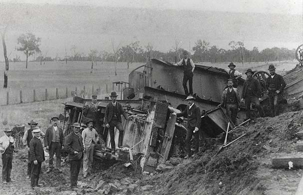 Derailed Train. Hiram Percy Maxim's order goes off the rails.