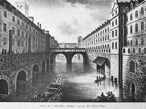 Fichier:Vue de l'Hôtel-Dieu, prise du Petit Pont - c. 1830.jpg