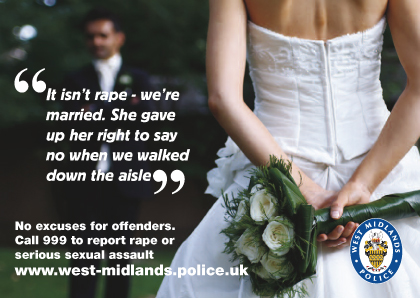 A poster for the West Midlands Police campaign to educate rapists and sex offenders
