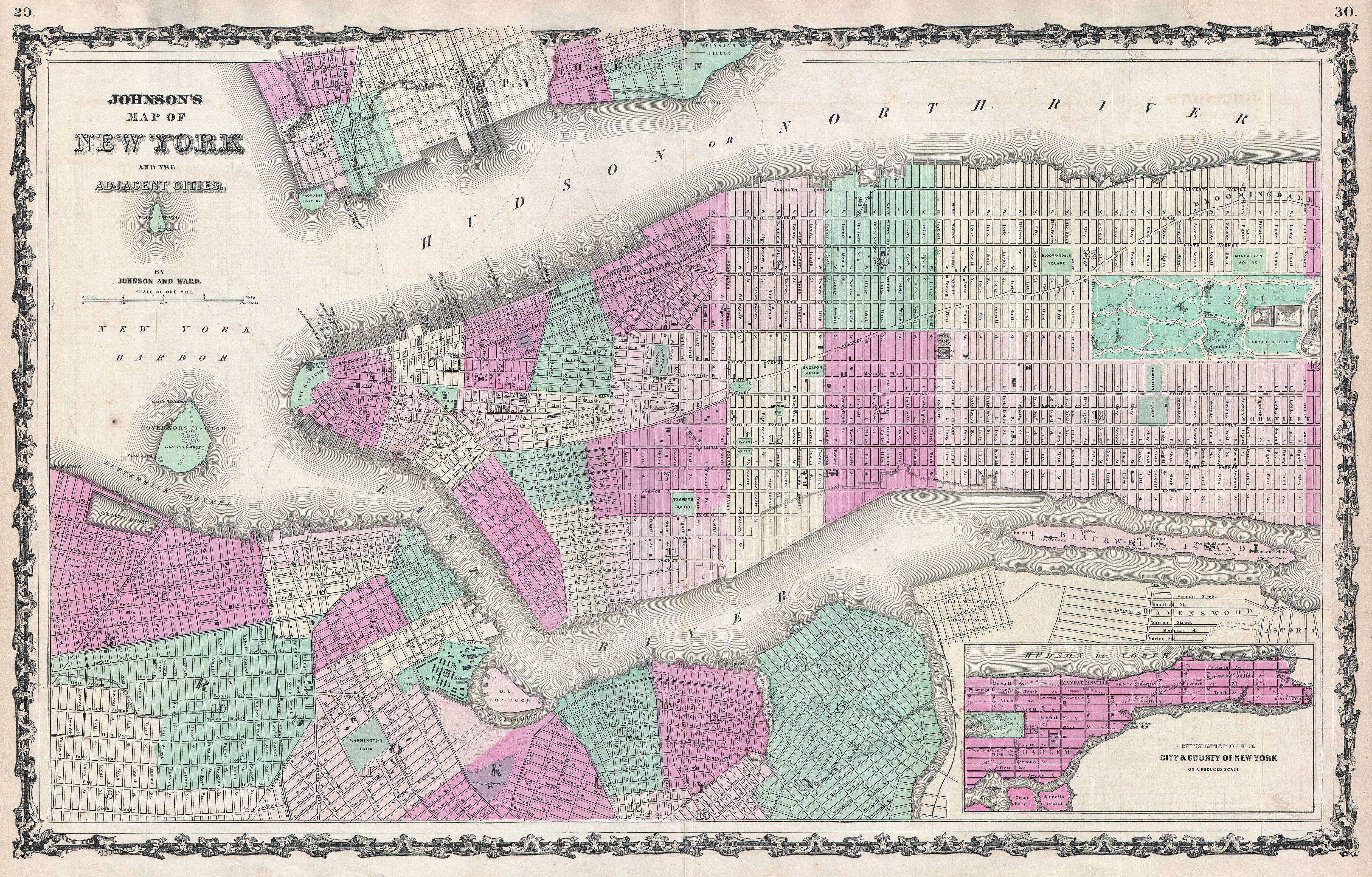 File1862 Johnson Map Of New York City And Brooklyn