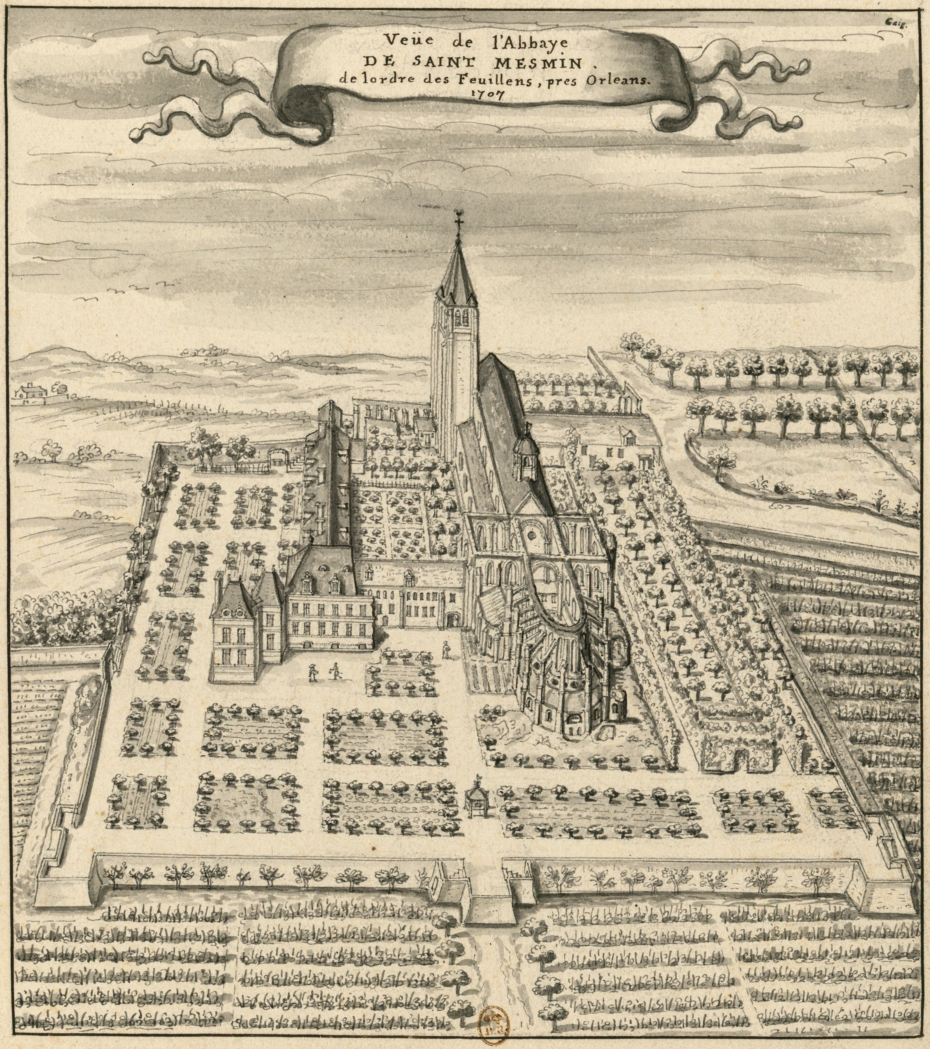 Abbaye_de_Saint-Mesmin_1707_dessin_Louis