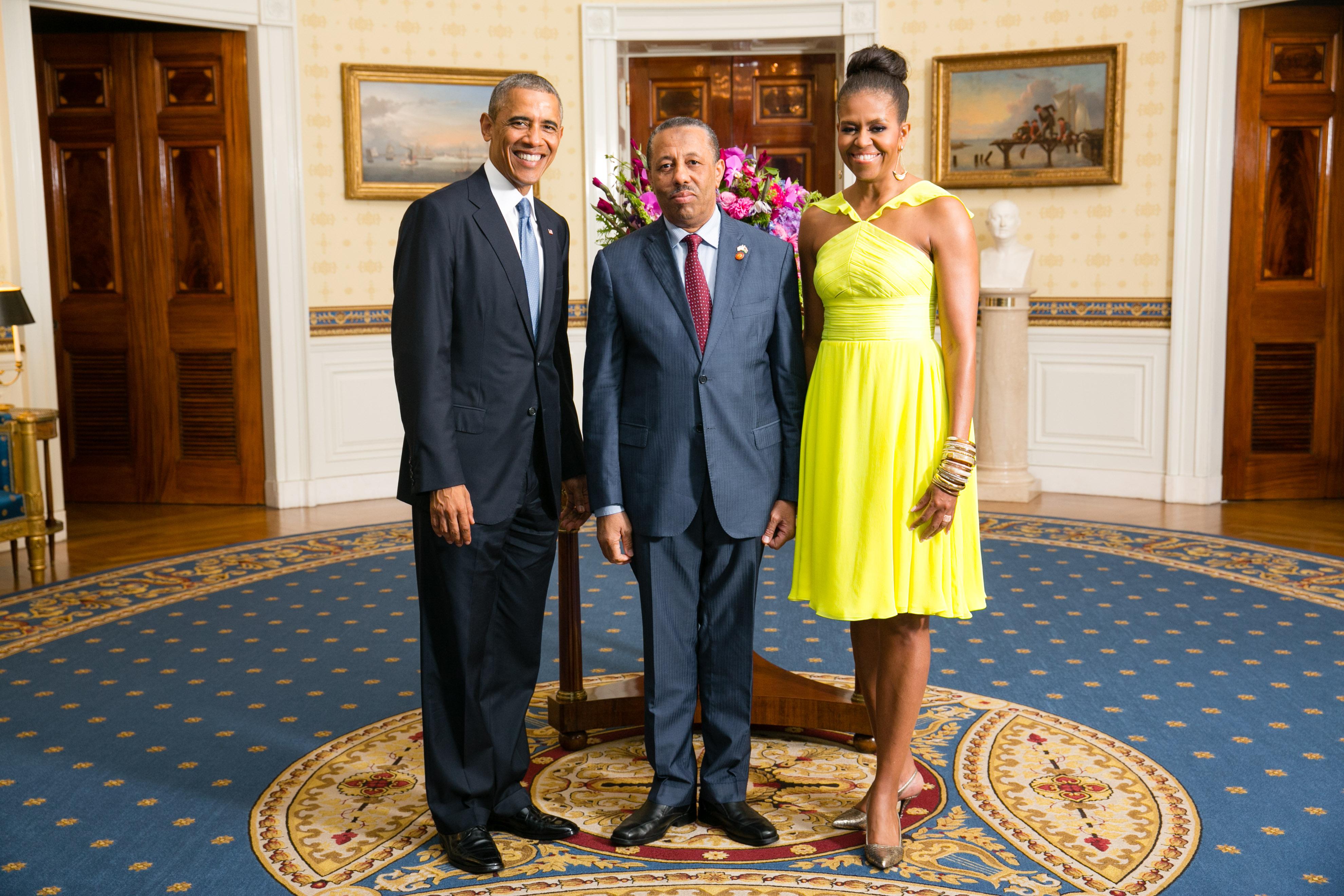 Abdullah al Thani with Obamas 2014