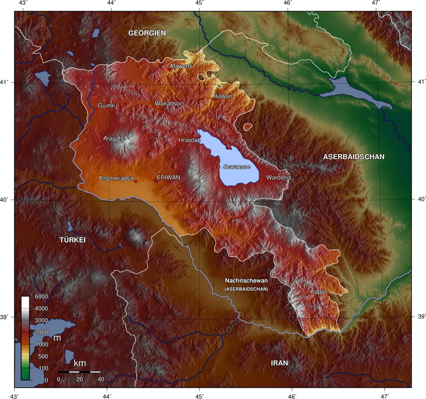 Топографическая карта армении