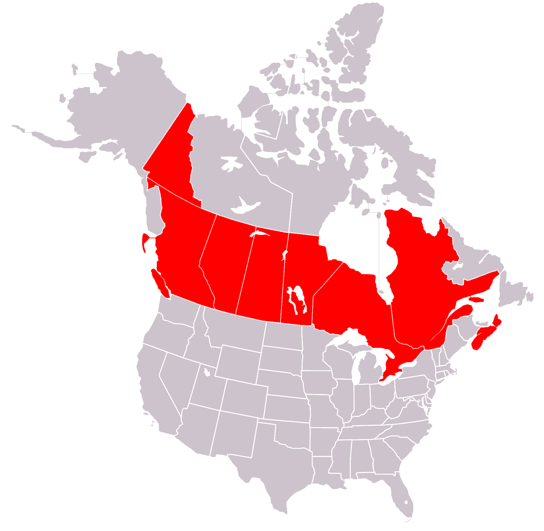 FileBlankMapUSAstatesCanadaprovinces Highlighting OCA - Us and canada vector map