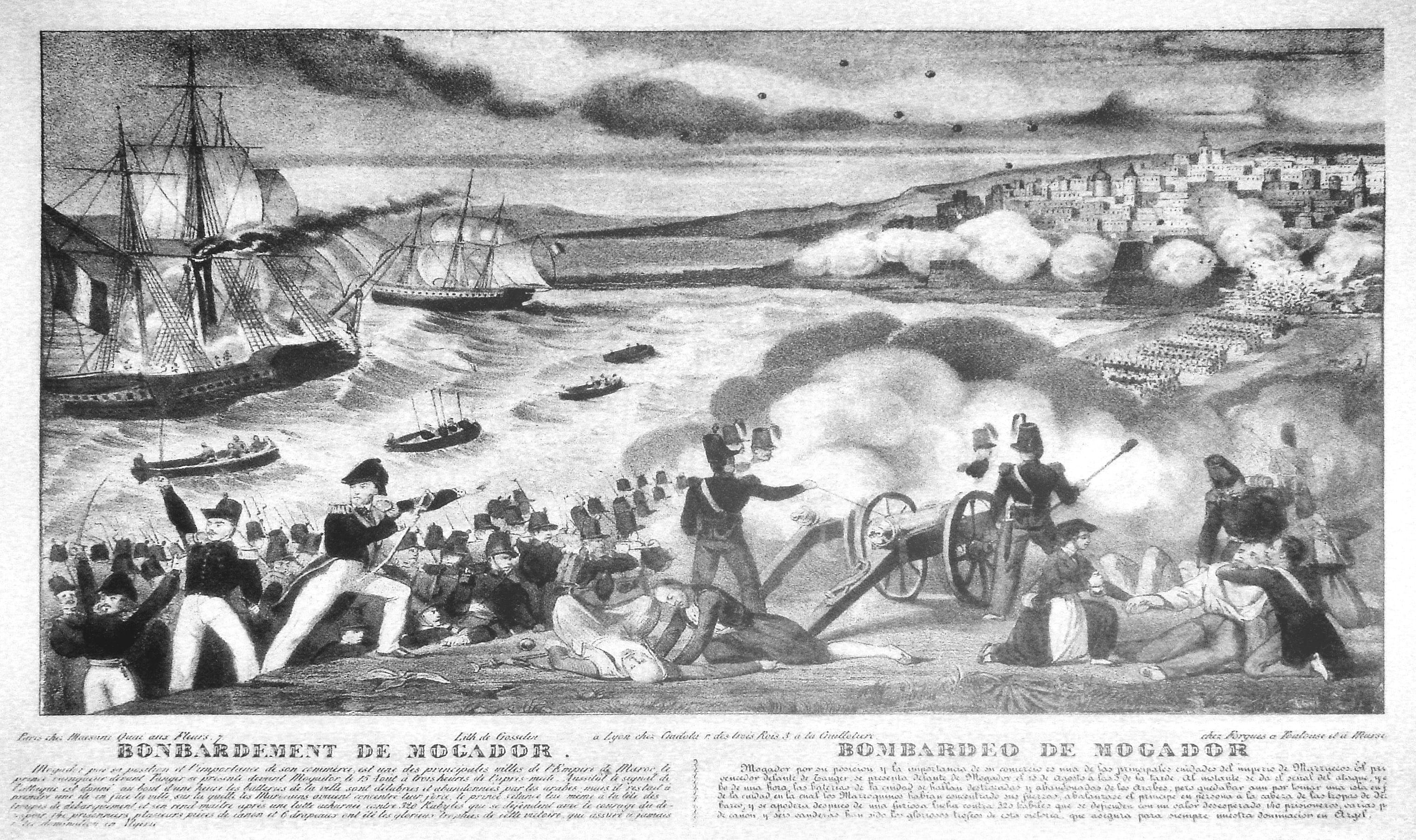 Le bombardement de Mogador par l'armée française. / Illustration