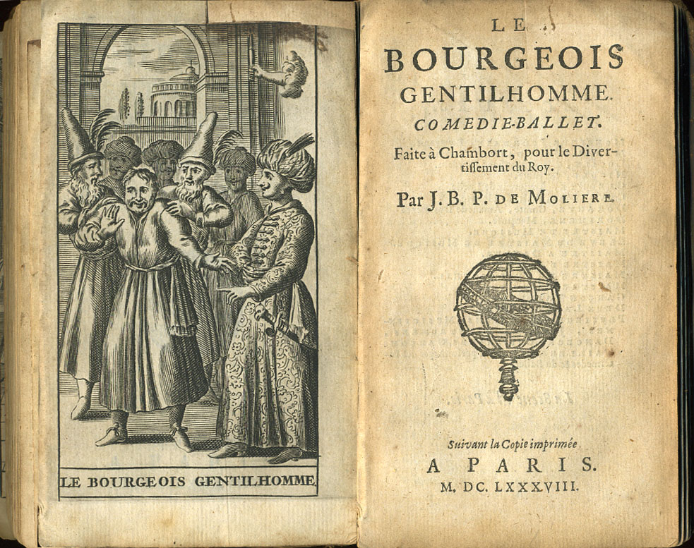 "Frontispiece and titlepage from a 1688 edition of ""Le Bourgeois Gentilhomme"", or ""The Middle-class Nobleman"", by Moliere."