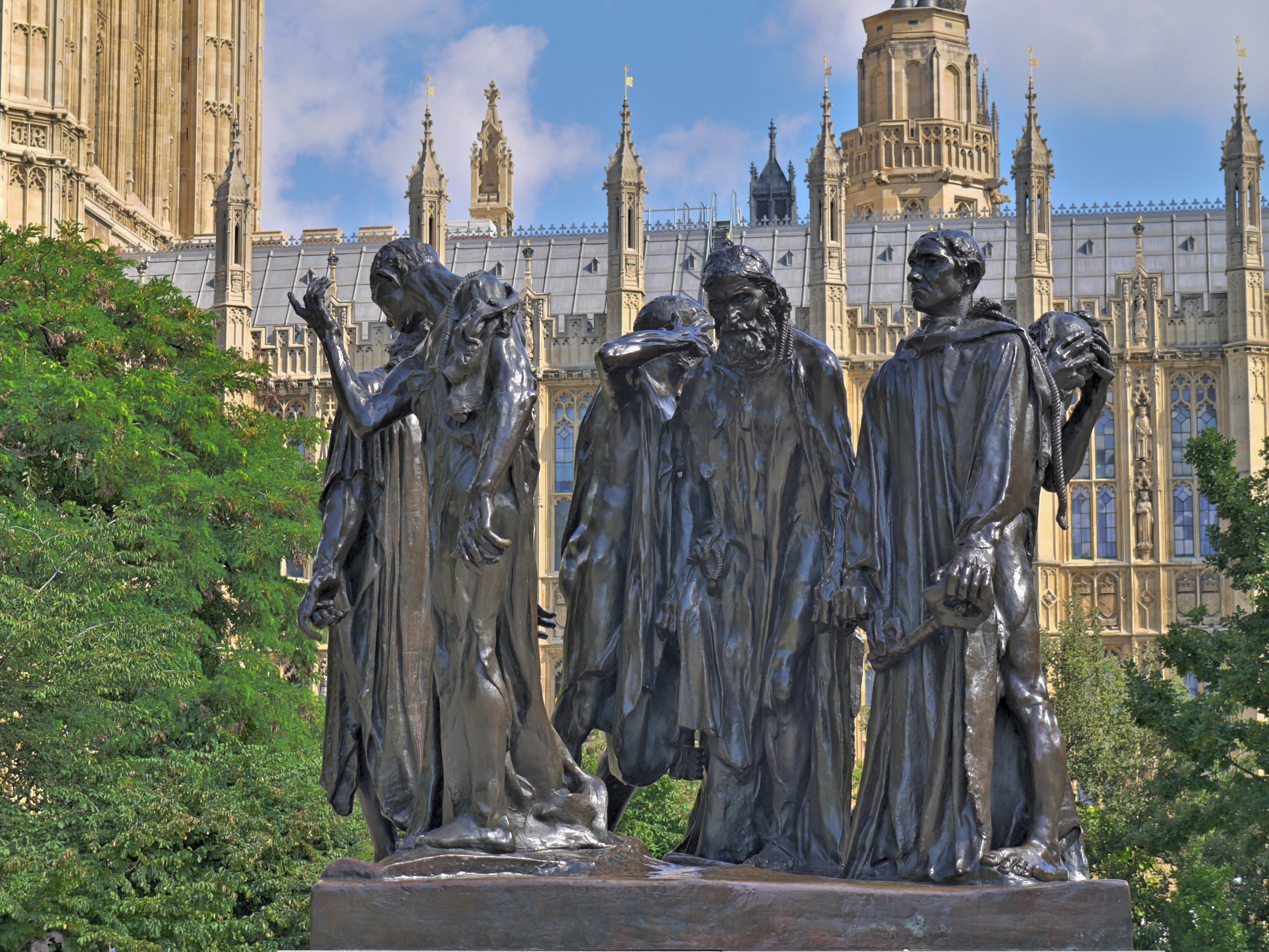 The Burghers of Calais statue by Rodin in Victoria Tower Gardens, Westminster, London.