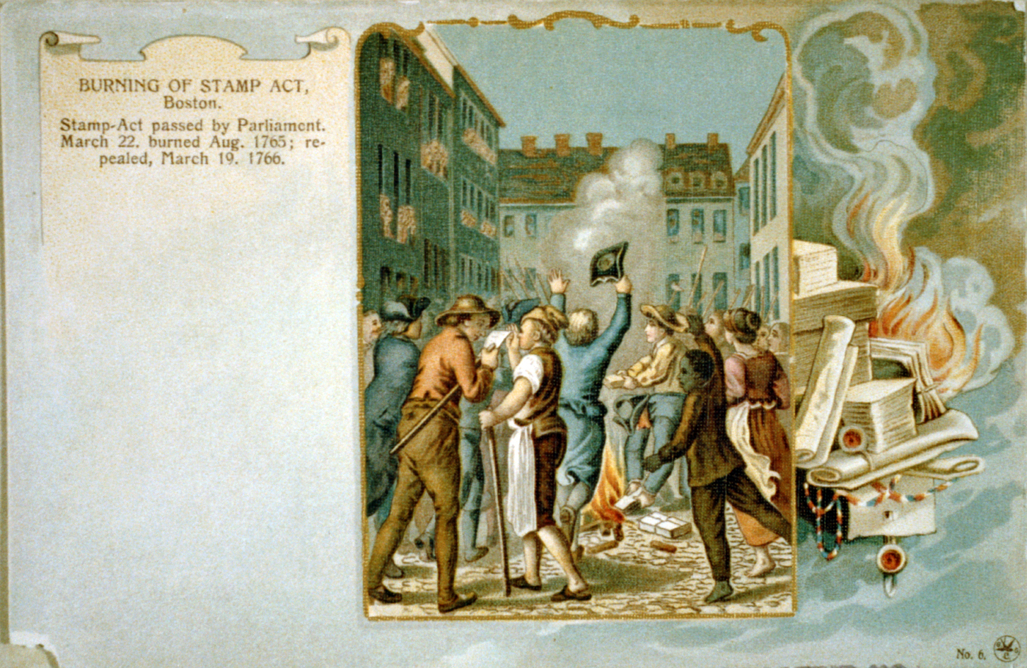 Burning of Stamp Act,  Postcard created 1902