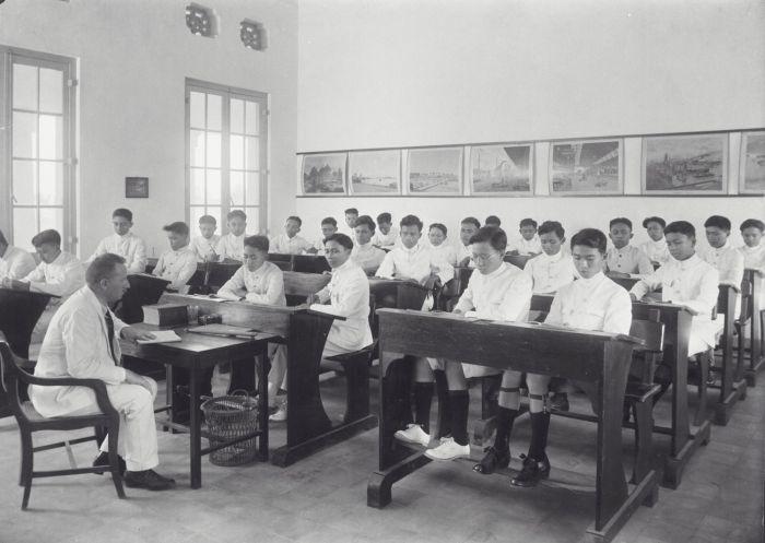het leslokaal in het nieuwe gebouw van de