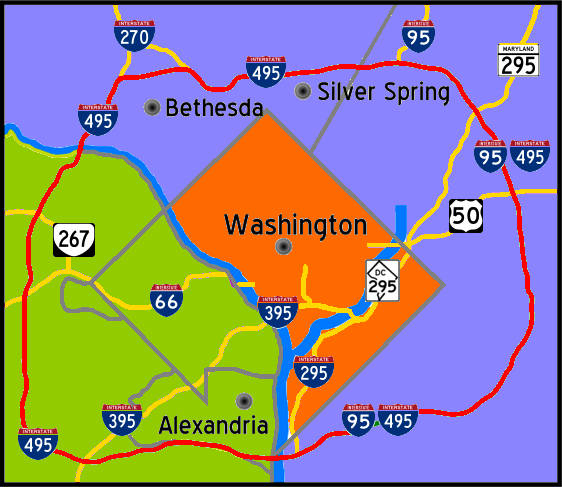 A map showing the Washinggton D.C. Beltway, which is roughly the same size as Martian moon Phobos.
