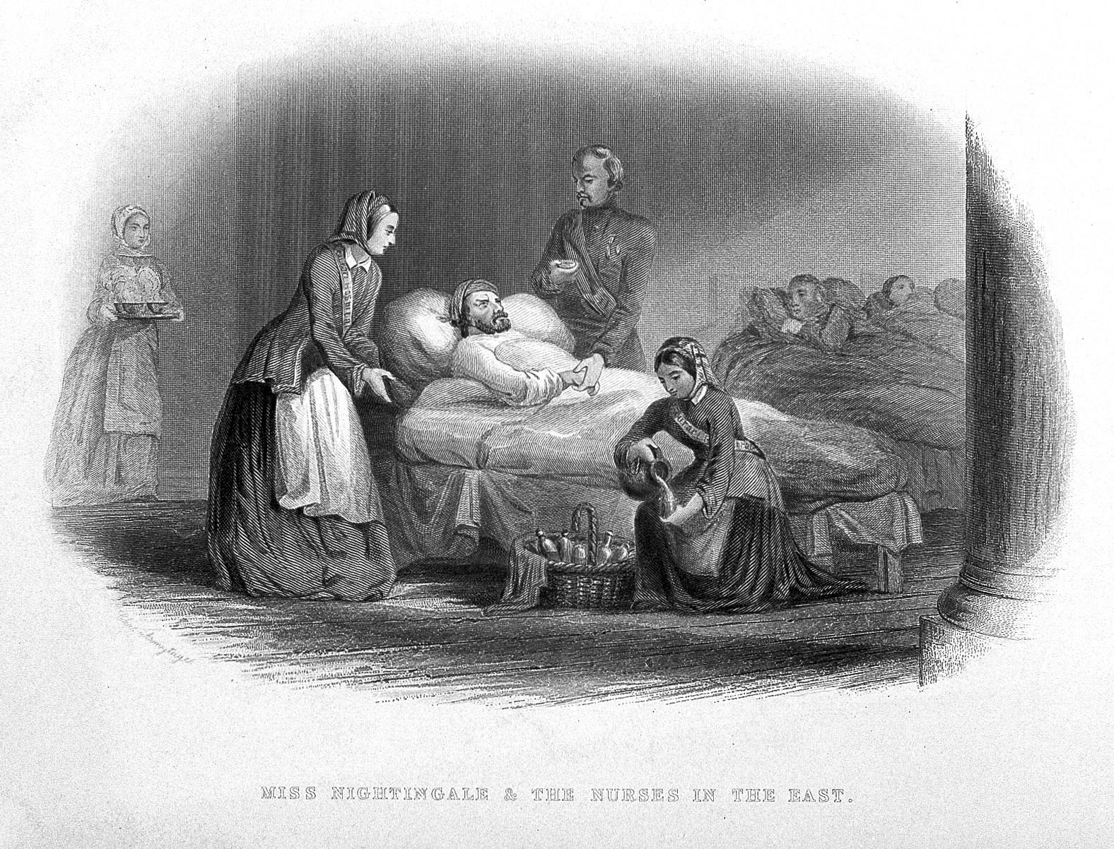 File:Crimean War; Florence Nightingale and nurses. Line engraving ...