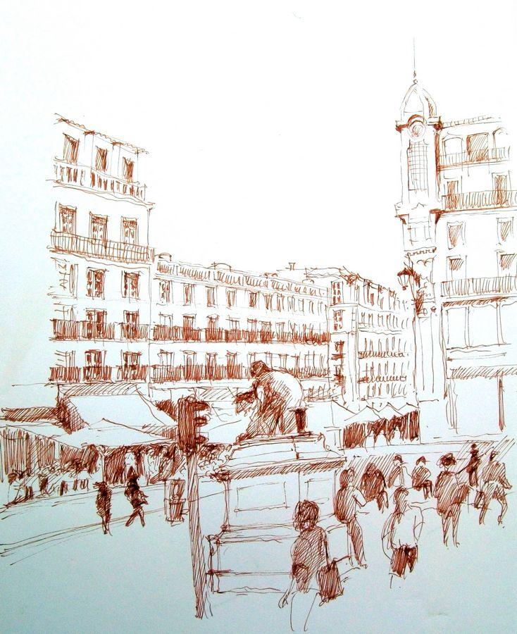 Croquis du quartier de Chiado à Lisbonne par Guy Moll.