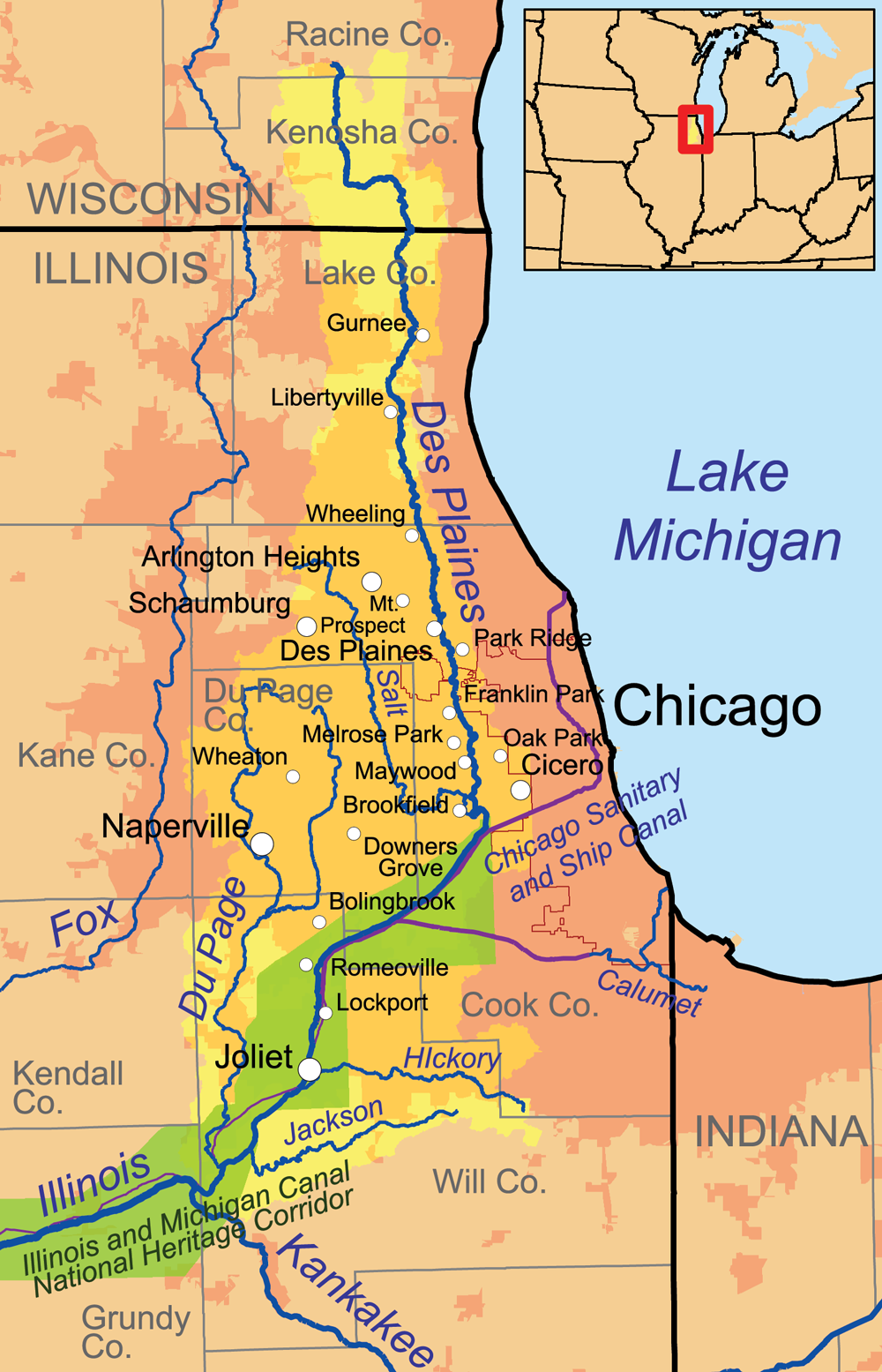 Des Plaines River Wikiwand - Chicago flooding map