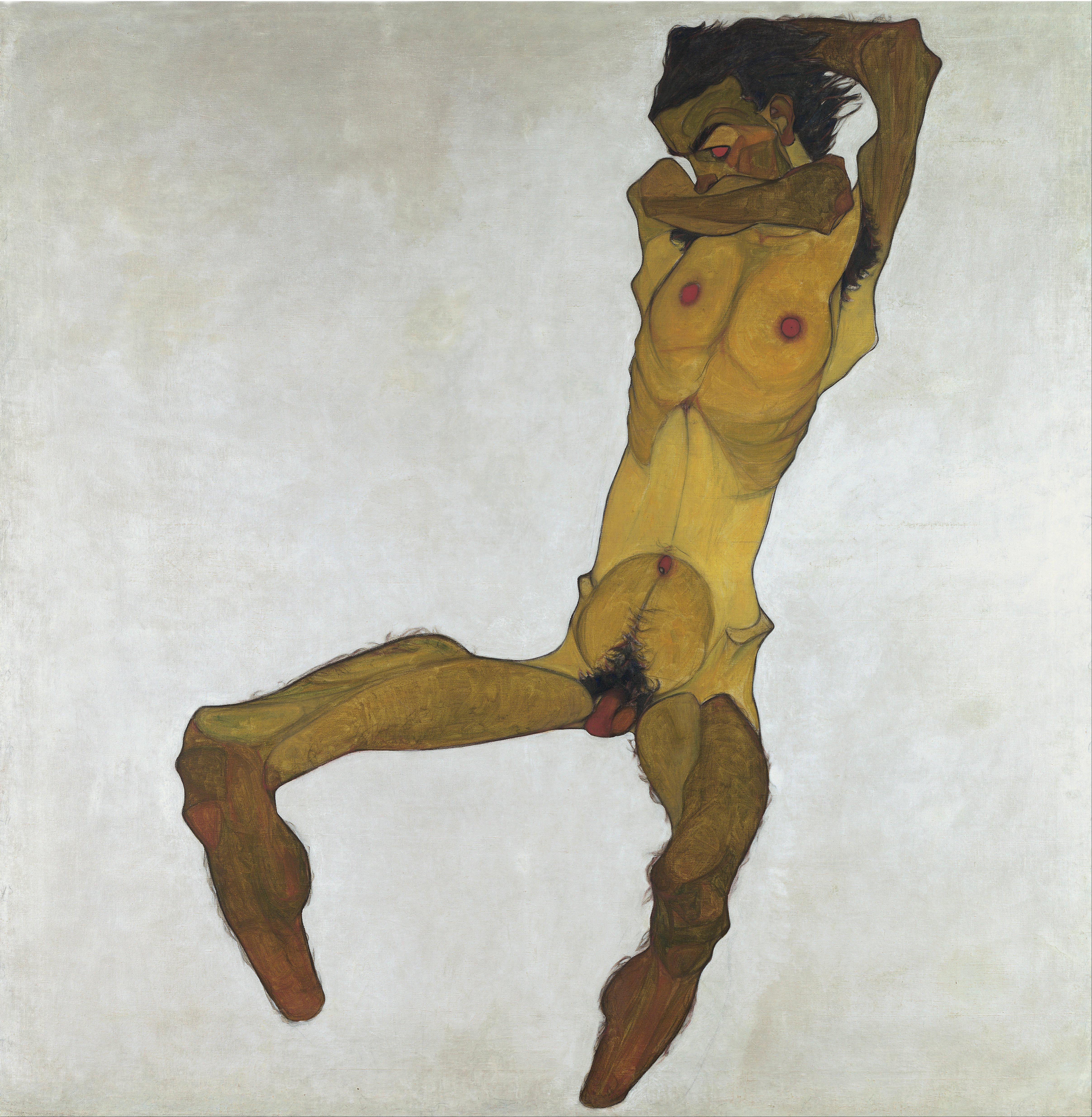 """(Selbstdarstellung) """" Seated Male Nude (Self-Portrait) title QS:P1476,en:""""Seated Male Nude (Self-Portrait)"""" label QS:Len,""""Seated Male Nude (Self-Portrait)"""" Object"""