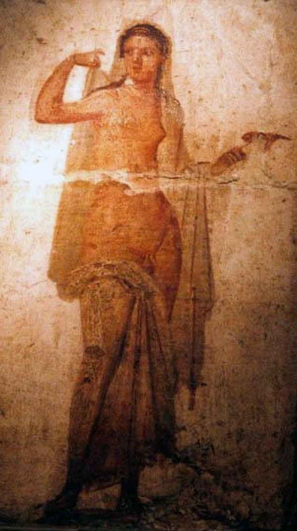 Ermafrodito, affresco Romano di Ercolano (1–50 d.C., Museo Archeologico Nazionale di Napoli) - 02.jpg