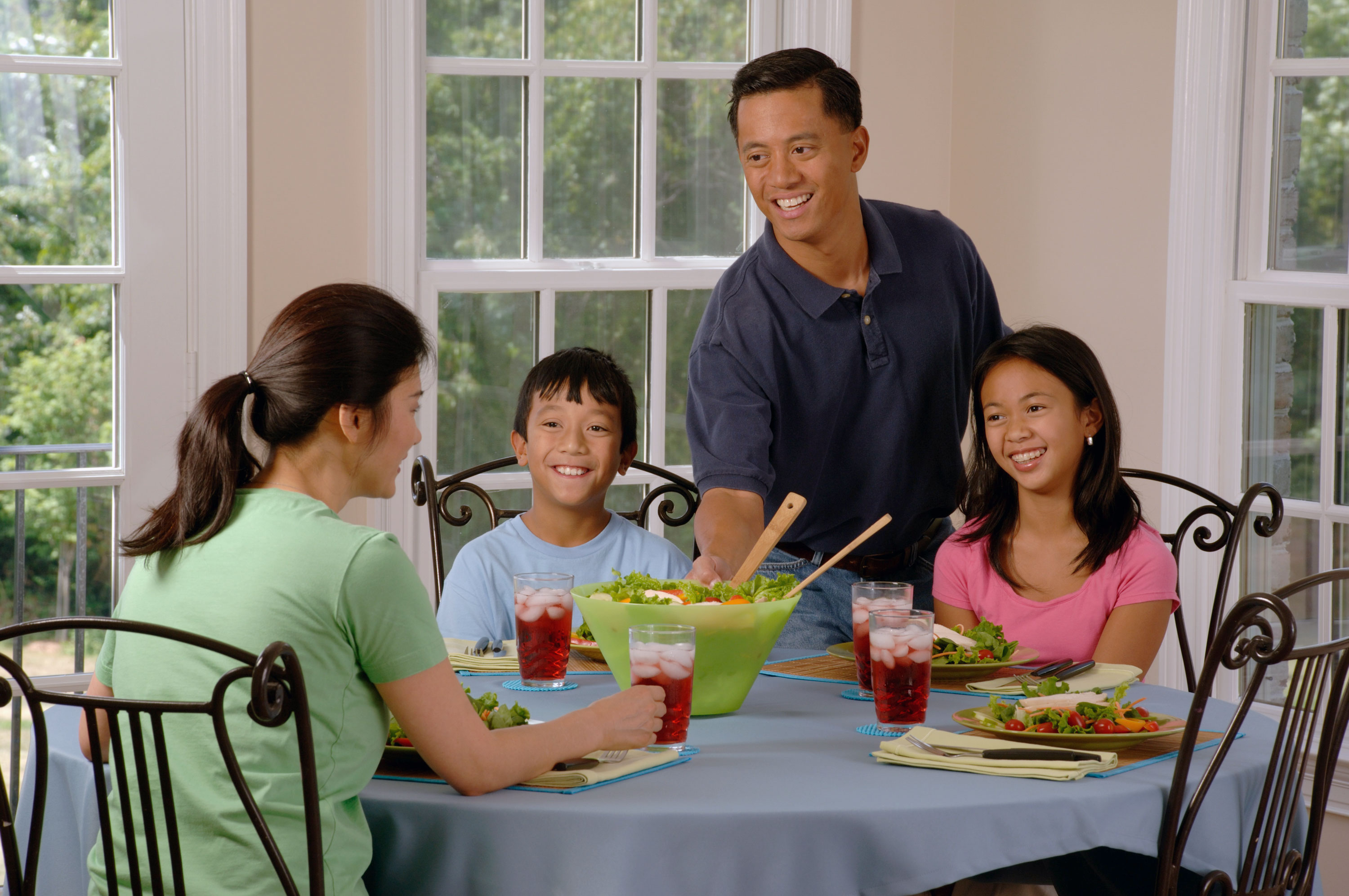 Asian Families Eating Asian Food Together