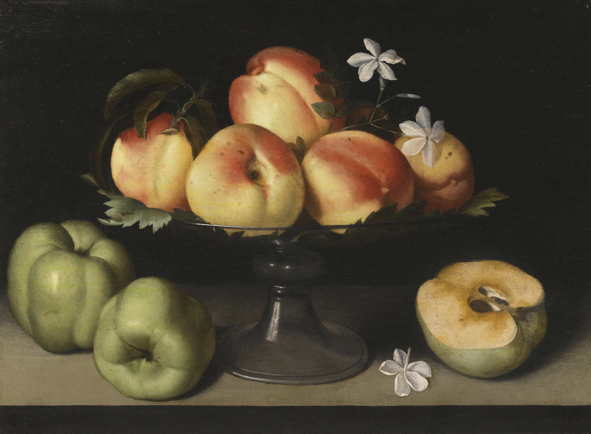 Filefede Galizia A Crystal Fruit Stand With Peaches Quinces And