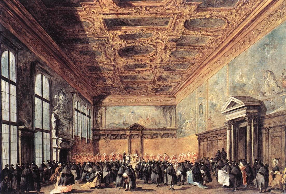 L'audience accordée par le doge de Venise dans la salle du Collège au palais ducal