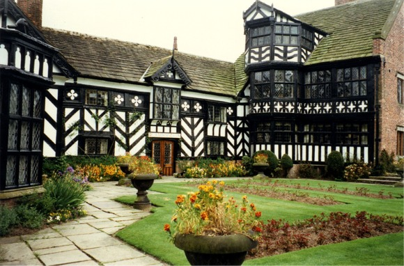 Image of Gawsworth Old Hall from the front showing half-timbering