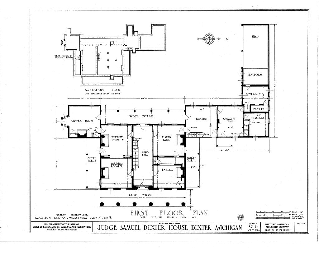 File gordon hall dexter mi 1934 floor 1 for Single floor plan