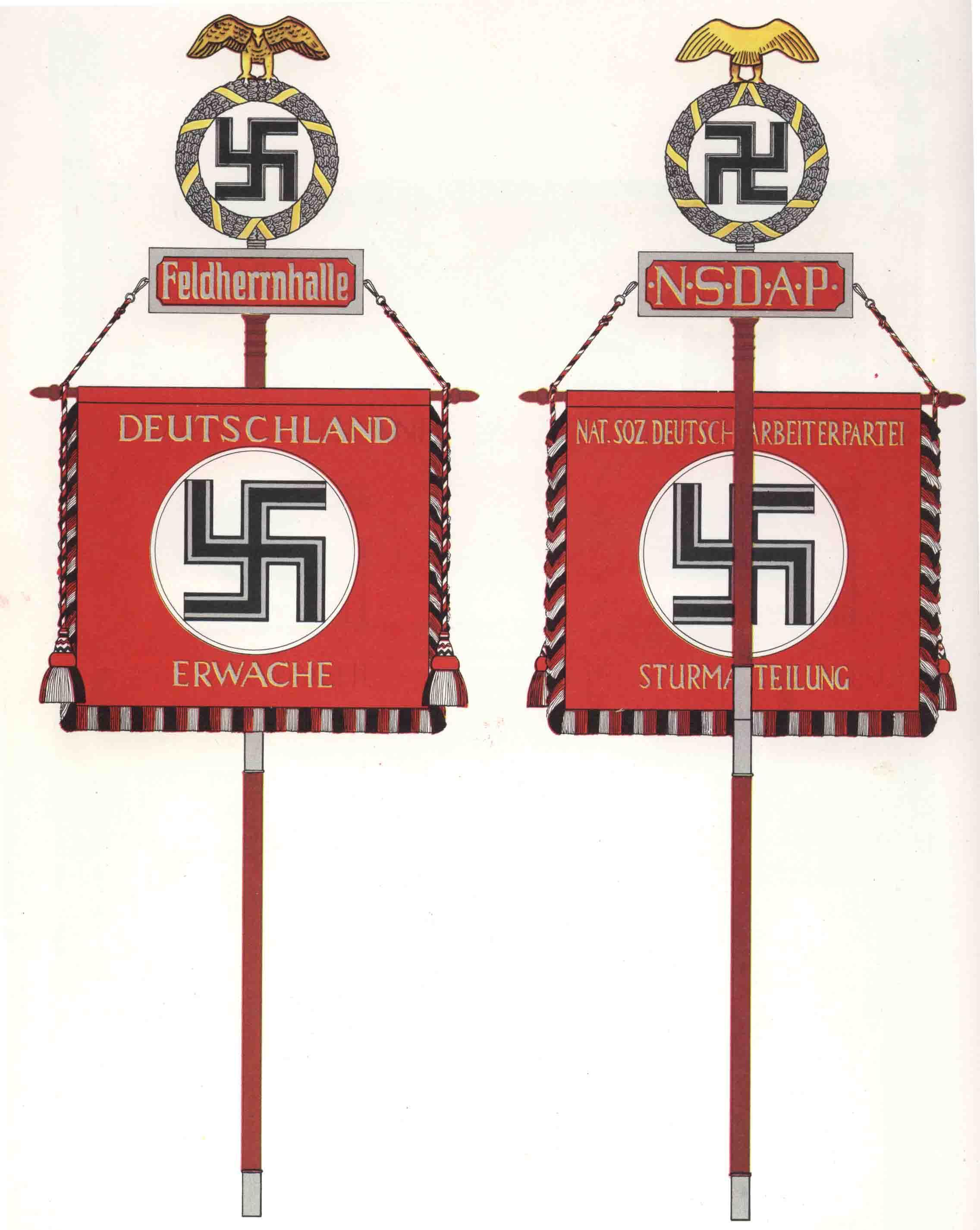 """Standarte des elitären SA-Wachverbandes """"Feldherrnhalle"""" (links Vorderseite, rechts Rückseite)"""