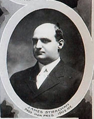 "Profile of balding man, wearing a suit, within an oval, with the caption ""James  Strachan Pres. Hon. Pres 1903-07"""